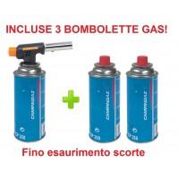 CANNELLO MINI BRUCIATORE SALDATORE FIAMMA OSSIDRICA + 3 CARTUCCE GAS CAMPINGAZ