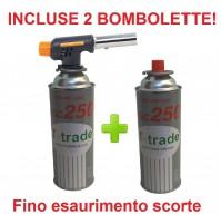 CANNELLO MINI BRUCIATORE TORCIA SALDATORE GAS FIAMMA OSSIDRICA + 2 CARTUCCE GAS