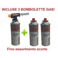 CANNELLO MINI BRUCIATORE TORCIA SALDATORE GAS FIAMMA OSSIDRICA + 3 CARTUCCE GAS
