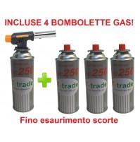 CANNELLO MINI BRUCIATORE TORCIA SALDATORE GAS FIAMMA OSSIDRICA + 4 CARTUCCE GAS