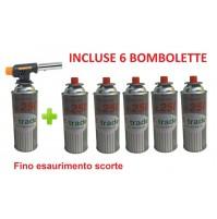 CANNELLO MINI BRUCIATORE TORCIA SALDATORE GAS FIAMMA OSSIDRICA + 6 CARTUCCE GAS