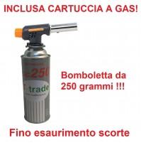 CANNELLO MINI BRUCIATORE TORCIA SALDATORE GAS FIAMMA OSSIDRICA + CARTUCCIA GAS