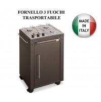 FORNELLO 3 FUOCHI 301 TRASPORTABILE - MULTIGAS GPL e/o METANO - MADE ITALY