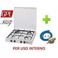 FORNELLO 4 FUOCHI A GAS GPL GAS VALVOLE DI SICUREZZA USO INTERNO + KIT REGOLATE