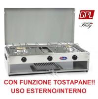 FORNELLO A GAS 2 FUOCHI CON TOSTAPANE - VALVOLATO GAS GPL E PIANALE ACCIAIO INOX