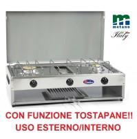 FORNELLO A GAS 2 FUOCHI CON TOSTAPANE - VALVOLATO METANO E PIANALE ACCIAIO INOX