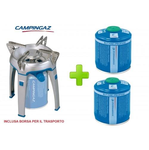 FORNELLO A GAS BIVOUAC ACCENSIONE ELETTRICA PER CAMPEGGIO + 2 CARTUCCE DA 240 GR