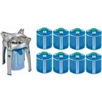 FORNELLO A GAS CAMPING BIVOUAC PZ CAMPINGAZ DA 2600 W + 8 CARTUCCE DA 450 GR