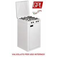 FORNELLO A GAS GPL 4 FUOCHI CON COPERCHIO E MOBILE - VALVOLATO PER USO INTERNO