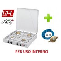 FORNELLO A GAS GPL 4 FUOCHI VALVOLATO PARKER PER USO INTERNO + KIT REGOLATORE
