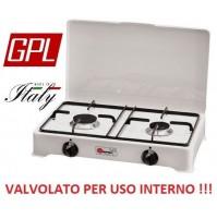 FORNELLO A GAS GPL ( GAS BOMBOLE ) VALVOLATO 2 FUOCHI  A NORMA PER USO INTERNO