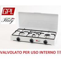 FORNELLO A GAS GPL ( GAS BOMBOLE ) VALVOLATO 3 FUOCHI  A NORMA PER USO INTERNO