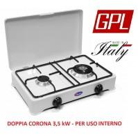 FORNELLO A GAS GPL VALVOLATO 2 FUOCHI  A NORMA PER USO INTERNO - DOPPIA CORONA