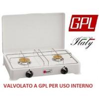 FORNELLO A GAS GPL VALVOLATO 2 FUOCHI GRIGLIA CROMATA A NORMA - USO INTERNO