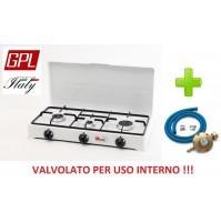 FORNELLO A GAS GPL VALVOLATO 3 FUOCHI  A NORMA PER USO INTERNO + KIT REGOLATORE