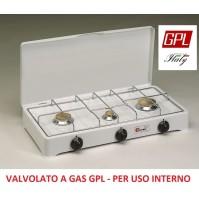 FORNELLO A GAS GPL VALVOLATO 3 FUOCHI GRIGLIA CROMATA A NORMA USO INTERNO