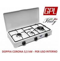 FORNELLO A GAS GPL VALVOLATO 3 FUOCHI  PER USO INTERNO DOTATO DI DOPPIA CORONA