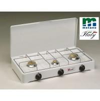 FORNELLO A GAS METANO 3 FUOCHI --- GRIGLIA CROMATA E SPARGIFIAMMA IN OTTONE