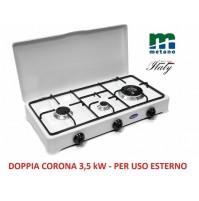 FORNELLO A GAS METANO 3 FUOCHI PARKER CON BRUCIATORE DOPPIA CORONA DA 3,5 KW