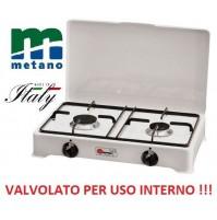 FORNELLO A GAS METANO VALVOLATO 2 FUOCHI BIANCO - NERO A NORMA PER USO INTERNO