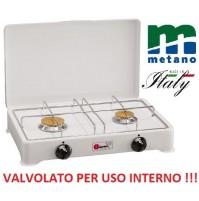 FORNELLO A GAS METANO VALVOLATO 2 FUOCHI GRIGLIA CROMATA A NORMA - USO INTERNO