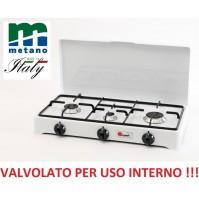 FORNELLO A GAS METANO VALVOLATO 3 FUOCHI BIANO e NERO A NORMA PER USO INTERNO
