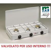 FORNELLO A GAS METANO VALVOLATO 3 FUOCHI GRIGLIA CROMATA A NORMA USO INTERNO
