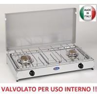 FORNELLO A METANO 2 F PIANALE INOX TELAIO GRIGIO VALVOLATO - A NORMA USO INTERNO