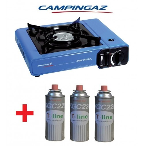 FORNELLO DA TAVOLO CAMP BISTRO IDEALE CAMPEGGIO + 3 CARTUCCE GAS DA 250 GR