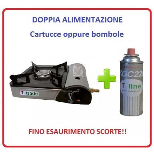 FORNELLO DA TAVOLO PORTATILE CON DOPPIA ALIMENTAZIONE + 1 CARTUCCIA GAS INCLUSA