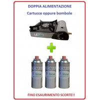 FORNELLO DA TAVOLO PORTATILE CON DOPPIA ALIMENTAZIONE + 3 CARTUCCE GAS INCLUSE