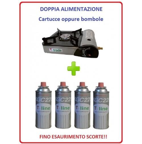 FORNELLO DA TAVOLO PORTATILE CON DOPPIA ALIMENTAZIONE + 4 CARTUCCE GAS INCLUSE
