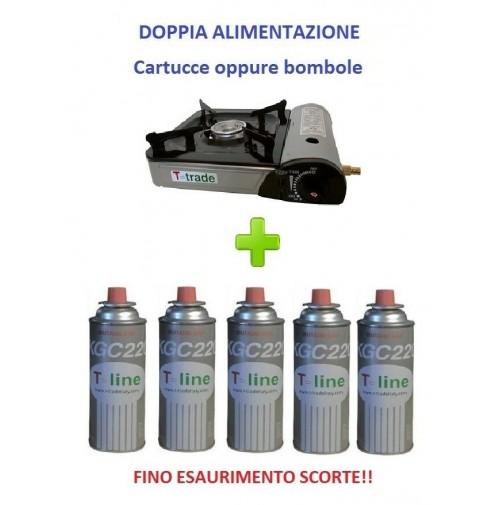 FORNELLO DA TAVOLO PORTATILE CON DOPPIA ALIMENTAZIONE + 5 CARTUCCE GAS INCLUSE