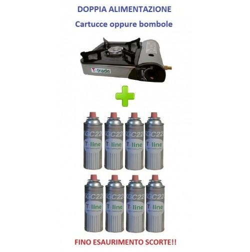 FORNELLO DA TAVOLO PORTATILE CON DOPPIA ALIMENTAZIONE + 8 CARTUCCE GAS INCLUSE -