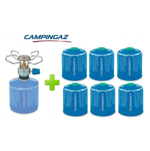 FORNELLO FORNELLINO A GAS BLEUET MICRO PLUS 1.230 W CAMPINGAZ + 6 PEZZI CV470