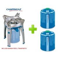 FORNELLO GAS BIVOUAC ACCENSIONE ELETTRICA PER CAMPEGGIO + 2 CARTUCCE DA 450 GR