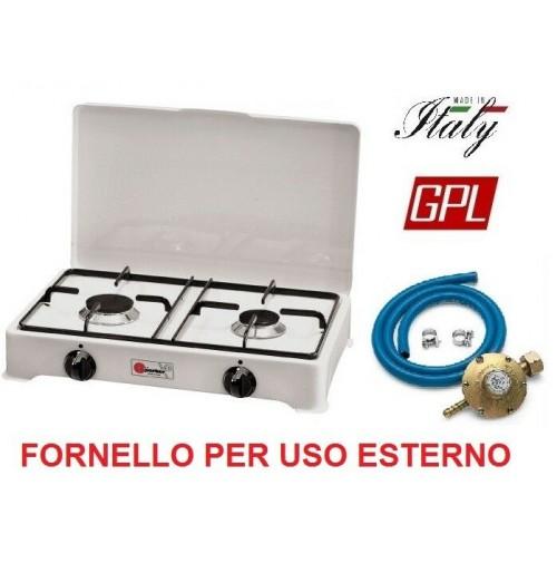 FORNELLO GAS GPL 2 FUOCHI - GRIGLIA E SPARGIFIAMMA ACCIAIO SMALTATO + REGOLATORE