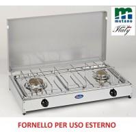 FORNELLO GAS METANO 2 FUOCHI PER ESTERNO PIANALE ACCIAIO INOX E TELAIO GRIGIO