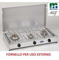 FORNELLO GAS METANO 3 FUOCHI PER ESTERNO PIANALE ACCIAIO INOX E TELAIO GRIGIO