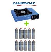 FORNELLO PORTATILE A GAS BISTRO CAMPINGAZ CON VALIGETTA +  10 CARTUCCIE A GAS
