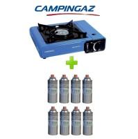 FORNELLO PORTATILE A GAS BISTRO CAMPINGAZ CON VALIGETTA +  8 CARTUCCIE A GAS