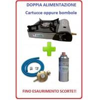 FORNELLO PORTATILE CON DOPPIA ALIMENTAZIONE + 1 CARTUCCIA GAS + KIT REGOLATORE