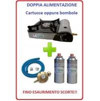 FORNELLO PORTATILE CON DOPPIA ALIMENTAZIONE + 2 CARTUCCE A GAS + KIT REGOLATORE