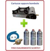 FORNELLO PORTATILE CON DOPPIA ALIMENTAZIONE + 3 CARTUCCE A GAS + KIT REGOLATORE