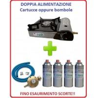 FORNELLO PORTATILE CON DOPPIA ALIMENTAZIONE + 4 CARTUCCE A GAS + KIT REGOLATORE