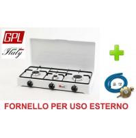 FORNELLO TAVOLO GAS GPL 3 FUOCHI GRIGLIA SPARGIFIAMMA SMALTATI e KIT REGOLATORE