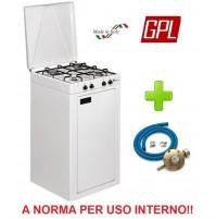 FORNELLO VALVOLATO A GAS GPL 4 FUOCHI MOBILE PER USO INTERNO + KIT REGOLATORE