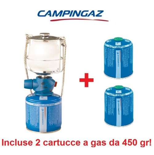 LAMPADA A GAS LUMOSTAR PLUS PZ CAMPINGAZ + 2 CARTUCCE A GAS DA 450 GR INCLUSE