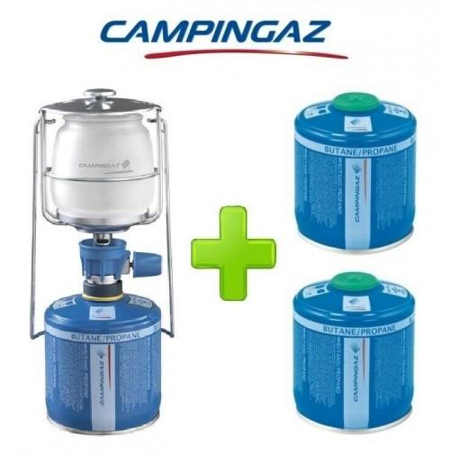 LAMPADA LANTERNA GAS LUMOGAZ PLUS CAMPINGAZ 80 WATT + 2 PEZZI CARTUCCIA CV300