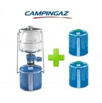 LAMPADA LANTERNA GAS LUMOGAZ PLUS CAMPINGAZ 80 WATT + 2 PEZZI CARTUCCIA CV470
